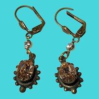 Vintage Sadie Green Brass & Peach Colored Rhinestone Dangle Earrings
