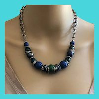 "Vintage 90's Premier Designs 16-20"" Blue, Green & Silver Plastic Bead Necklace"