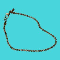 Vintage Monet Gold Over 925 Sterling Silver Rhinestone Skinny Tennis Bracelet