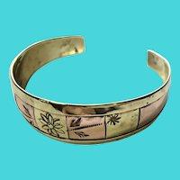 Vintage Multi Metal Brass & Copper Floral Etched Cuff Bracelet