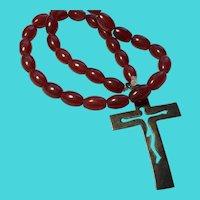 "Vintage 16"" Strand Red Jadeite Jade Prayer Beads with 2"" Sterling Silver Cross"