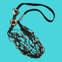 """Vintage 26"""" Multi-Strand Beaded Teal Leather Necklace"""
