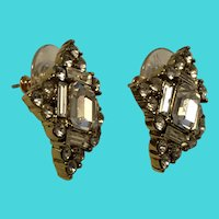 Monet Fun Diamond Shaped Rhinestone Covered Pierced Earrings