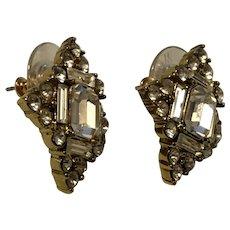 Monet Fun Diamond Shaped Rhinestone Covered Pierced Earrings