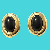 Monet Gold Tone Black Oval Cabochon Pierced Earrings