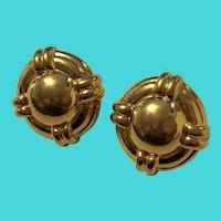 Monet Signed Gold Tone Elegant Large Pierced Stud Earrings