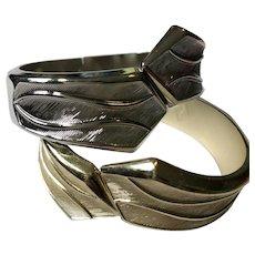 """Set of 2 Vintage Sarah Coventry Silver & Gold Tone 7"""" Hinge Bracelets"""