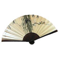 Vintage LARGE Oriental Folding Fan - Hanging Wall Art