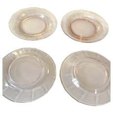 """Vintage Pink 8"""" Depression Glass Plates"""
