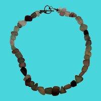 """Vintage 15"""" Natural Matte Quartz Gemstone & Sterling Silver Necklace"""