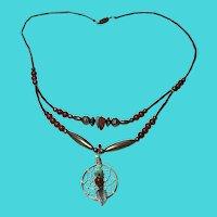 """Vintage 18"""" Silver Tone Turquoise & Carnelian Dreamcatcher Pendant Necklace"""
