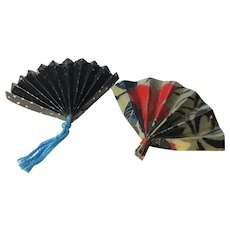 Set of 2 Vintage Asian Paper Fan Brooches / Pins