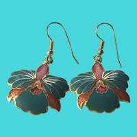 Vintage Cloisonne Gold Tone Teal & Coral Flower Floral Dangle Earrings