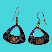 Vintage Cloisonne Enamel Gold Tone Blue & Peach Dangly Drop Earrings