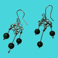 Vintage Sterling Silver Earrings w/ Small Malachite Dangles