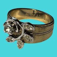 Vintage Size 8 14K HGE Gold Electroplate & Rhinestone Ring / Leaves