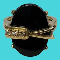 Vintage Size 5.75 14K Yellow Gold, Black Onyx & Clear Sapphire Ring