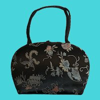 Vintage Silvercraft Embroidered Silk Evening Bag W/ Asian Motif