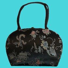 Vintage Silvercraft Embroidered Silk Evening Bag W/ Asian Motif