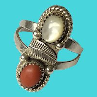 Vintage Size 9.25 Sterling Silver, Moonstone & Carnelian Ring - Signed S. Watson