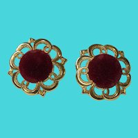 Vintage Chunky Gold Tone & Red Velour Pierced Earrings
