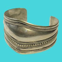 Vintage Silver Plated Thick Cuff Bracelet