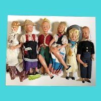 "Bundle of 6 Vintage 8"" Plastic Dolls for Parts or Repair"
