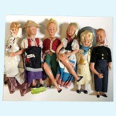 "Bundle of 6 Vintage 8"" Plastic Dolls for Parts or Repair"