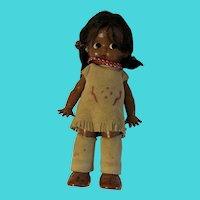 "Vintage SKOOKUM Native American Indian Child Girl Doll toy - 5.75"""