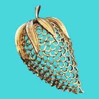"Vintage Coro Gold Tone Strawberry Brooch / Pin - 2.8"""