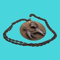 "Vintage Copper Bell Mid Century 1960's Solid Copper Poodle Pendant 28"" Necklace"