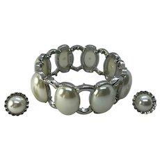 Vintage Silver Tone Faux Pearl Stretch Bracelet & Earrings - Signed RMN