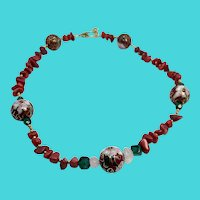 "Vintage 18.5"" Red Cloisonne with Coral Chips & Quartz Necklace"