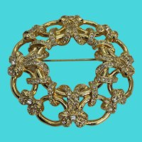 "Vintage Monet Shiny Gold Tone & Rhinestone 2.2"" Holiday Wreath Brooch"