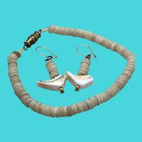 Vintage Set - Matching MOP Disc Bracelet & Dangly Earrings