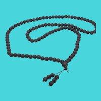 "Vintage 26"" Volcanic Lava Rock Black Bead Necklace on Elastic Cord"