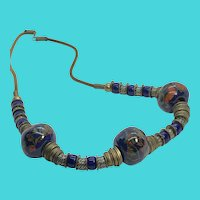 "Vintage 22"" Brass Disc & Blue Painted Trade Beads Leather Cord Necklace"