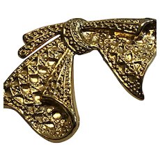 Vintage AAI Gold Tone Textured Bow Brooch / Pin