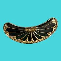 Vintage Resin Coated Gold Tone Oblong Enamel & Rhinestone Peacock Brooch