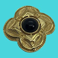 Vintage Gold Tone Brooch with Black Glass Cabochon Center Stone