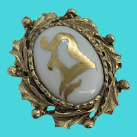 Vintage Gold Tone Hand Painted Porcelain Center Brooch / Pin