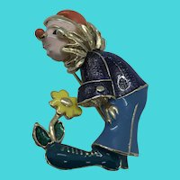 "Vintage 1.5"" Colorful Enamel Clown Brooch / Pin"