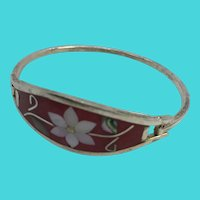 """Vintage 6.5"""" Alpaca Mexico Crushed Coral, MOP & Abalone Inlay Floral Bracelet"""