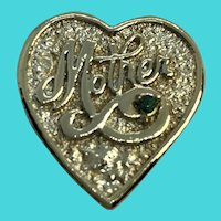 """Gerry's """"Mother"""" Gold Tone Heart Brooch / Pin"""