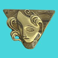 Stunning Vintage Golden Triangle w/ Female Face Brooch / Pin