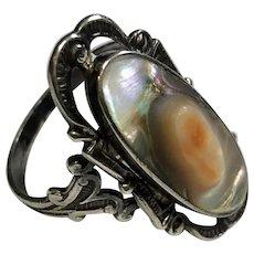 Size 8.5 Stunning Vintage Bezel Set Blistered Abalone Shell Sterling Silver Ring