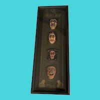 Framed Korean Masks Wall Decor - Yangban Tal, Bune Tal, Kagsi Tal, Sonbi Tal