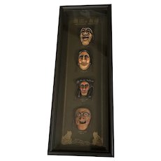 Framed Korean Masks Wall Decor - Yangban Tal, Bune Tal, Kagsi Tal, Sonbi Tal