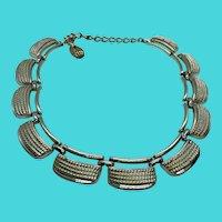 Vintage Lisner Gold Tone Short High Collar or Choker Necklace