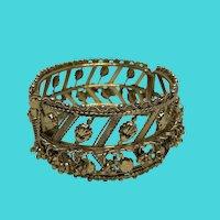 Vintage Golden Jingle Hinge Cuff Bracelet w/ Dangles